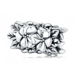 Charms długi separator w kwiaty, srebro 925