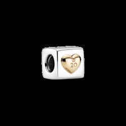 Charms Kostka miłości na 20-lecie Pandora Moments B82008EN two tones srebro 925 i złoto 585