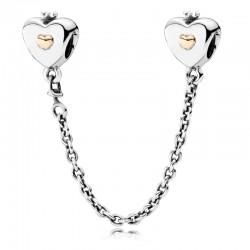 Łańcuszek zabezpieczający ze srebra i 14-karatowego złota, 791878 Pandora