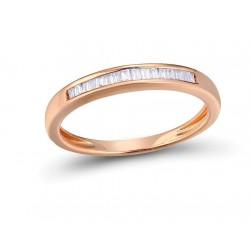 Zaręczynowy złoty 14k pierścionek z diamentami bagietka obrączka rose gold
