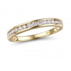 Złoty 14k pierścionek obrączka z brylantami 0,30ct musujące diamenty