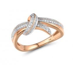 90 brylantów zaręczynowy złoty 14k pierścionek diamentowa kokarda różowe złoto 585
