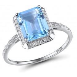 Zaręczynowy złoty 14k pierścionek niebieski topaz i diamenty, białe złoto 585