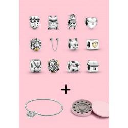 Charms komplet 12 charmsów na 20-lecie Pandora Moments + bransoletka + szkatułka gratis