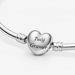 Bransoletka modułowa bangle sztywna zapięcie serce + grawer srebro 925