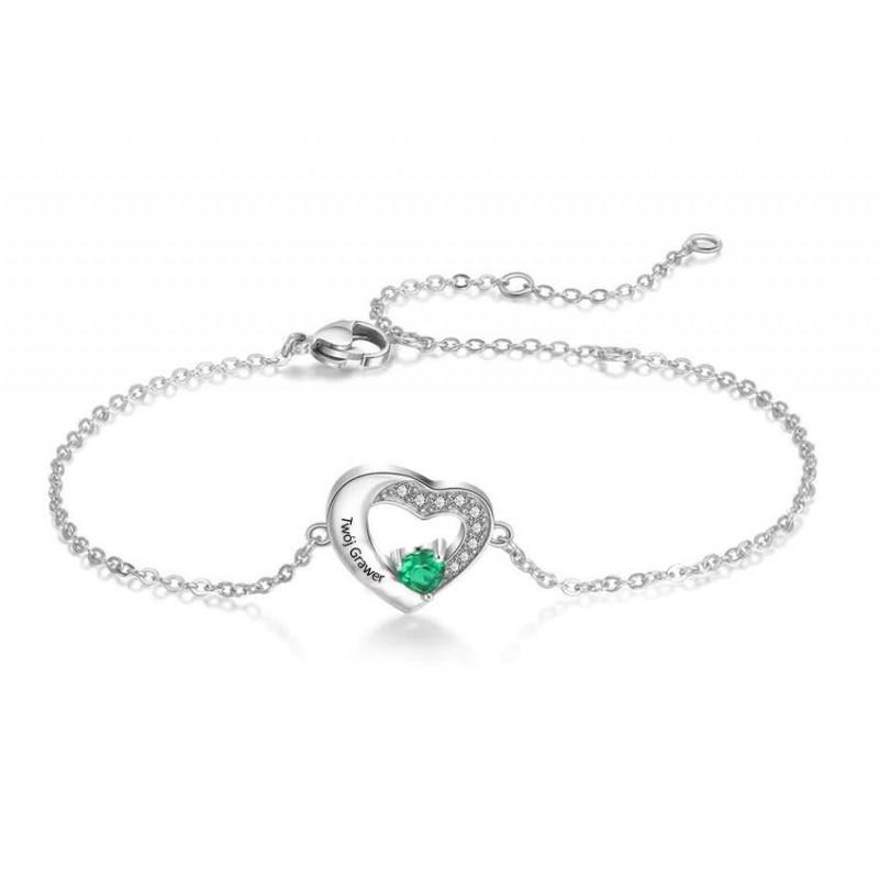 Celebrytka serce z cyrkonią sześcienną, bransoletka + grawer, srebro 925
