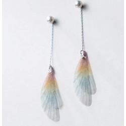 Długie kolczyki przebitki wiszące - szkrzydła motyla, srebro 925, perła słodkowodna