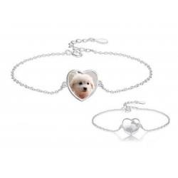 Bransoletka personalizowana ze zdjęciem celebrytka ukochany pies, srebro 925, cyrkonia