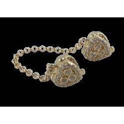 Łańcuszek zabezpieczający 14k lśniące serca, złoto 585, cyrkonia sześcienna