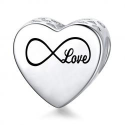 Charms personalizowany serce + grawer imię nieskończoność, srebro 925