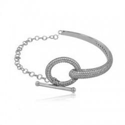 Bransoletka sztywna bangle z zapięciem T-bar, srebro 925, cyrkonia sześcienna