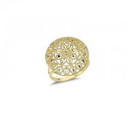 Złoty 14k pierścionek w stylu boho - słońce, złoto 585