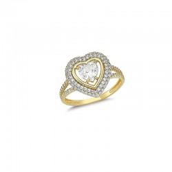 Złoty 14k pierścionek serce pave z radiantem, złoto 585, cyrkonia sześcienna