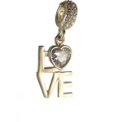 Złoty 14k charms zawieszka LOVE, złoto 585, cyrkonia sześcienna