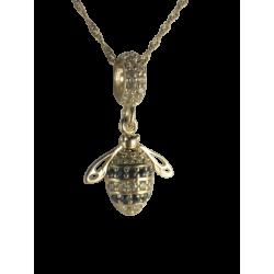 Złoty 14k charms zawieszka pracowita pszczółka, złoto 585, cyrkonia sześcienna