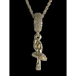Złota 14k zawieszka migocząca baletnica, charms złoto 585, cyrkonia sześcienna