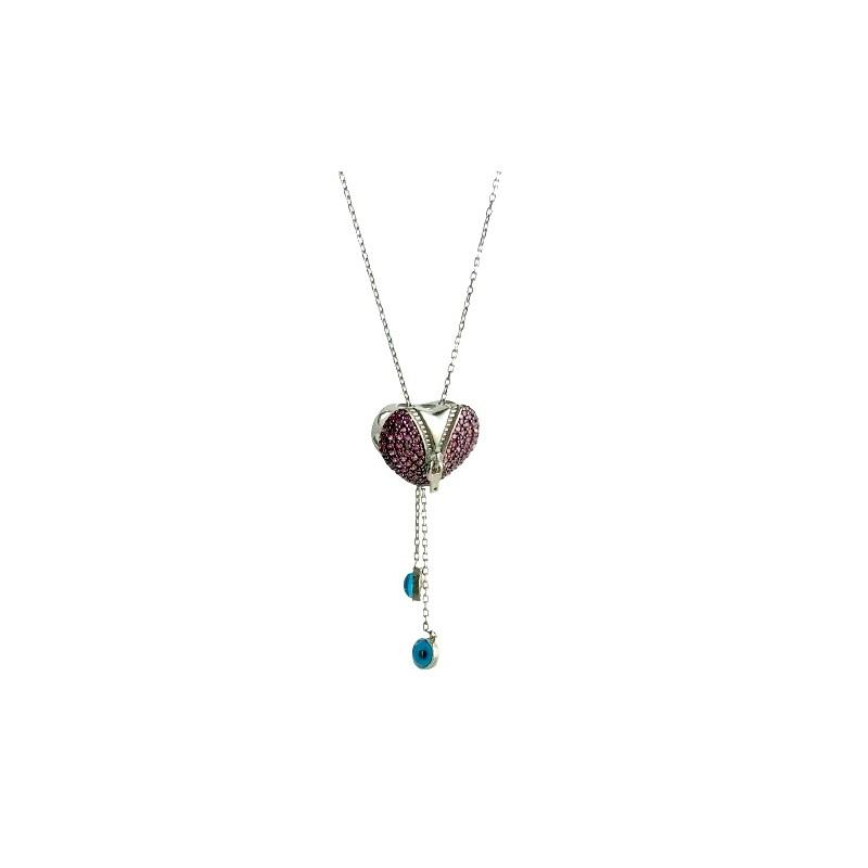 Naszyjnik regulowany otwarte serce, srebro 925, cyrkonia sześcienna, 70cm