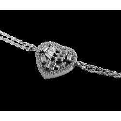 Bransoletka serce rzeźbiony szyk, srebro 925, cyrkonia sześcienna, regulowana celebrytka