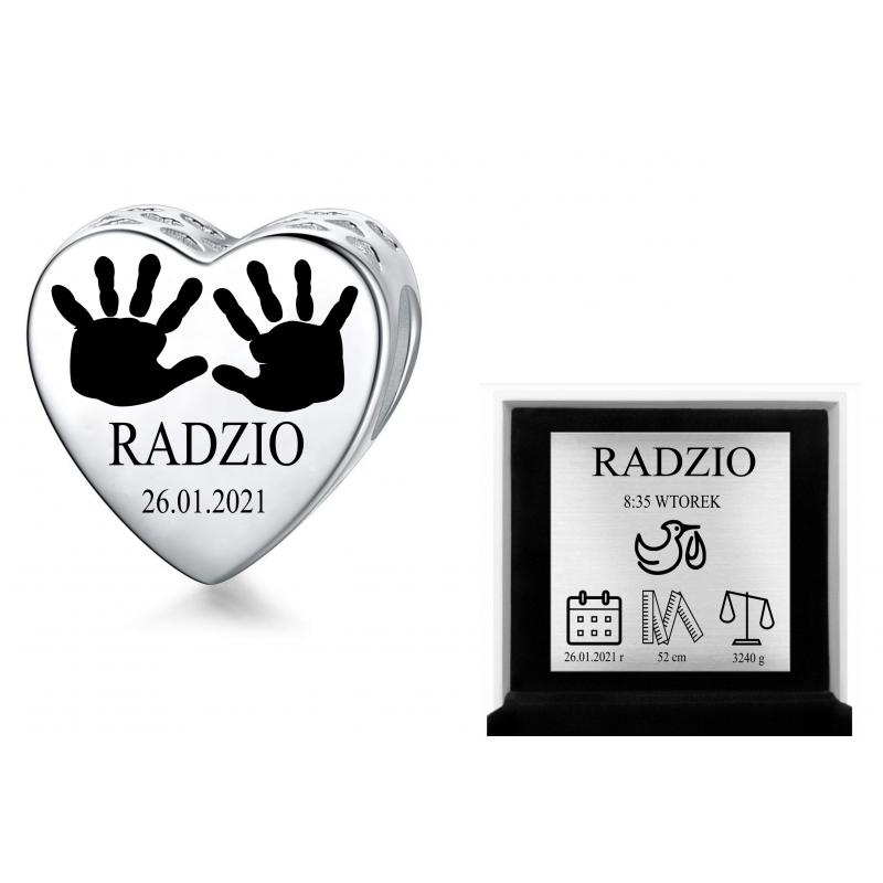 Charms personalizowany serce + grawer odcisk dłoni dziecka dla mamy, srebro 925