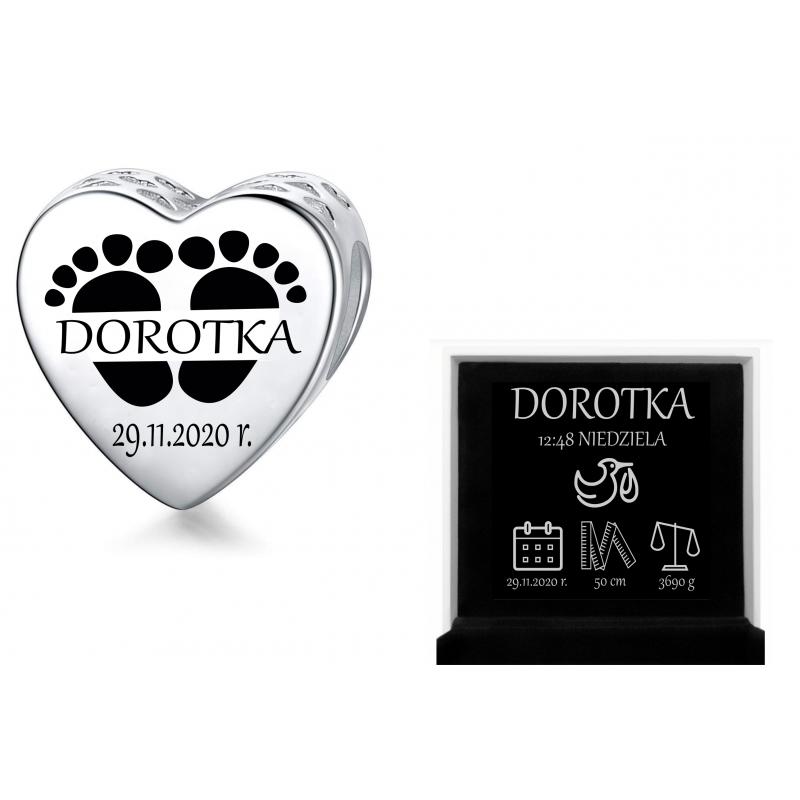 Charms personalizowany serce + stópki z monogramem narodziny, srebro 925