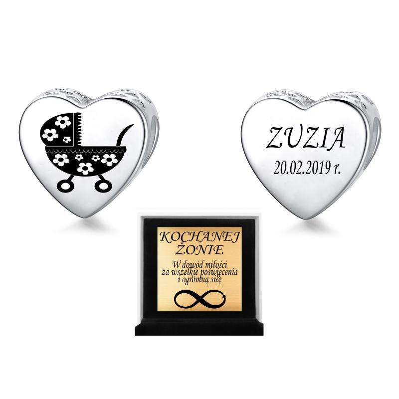 Charms personalizowany serce grawer wózek dziecka, srebro 925