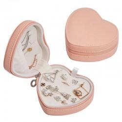 Szkatułka skórzana kuferek serce na biżuterię podróżna, łososiowy róż