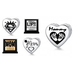 Charms serce z grawerem na dzień matki, srebro 925