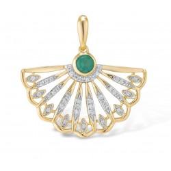 Złota zawieszka lśniący diamentowy wachlarz ze szmaragdem, brylanty 0.09ct, szmaragd 0,11ct