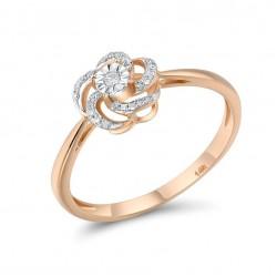 14-k złoty pierścionek czarujący kwiat, brylanty 0.07ct, różowe złoto 585