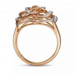 Złoty pierścionek diamentowa róża, złoto 585 rose gold, 98x brylant
