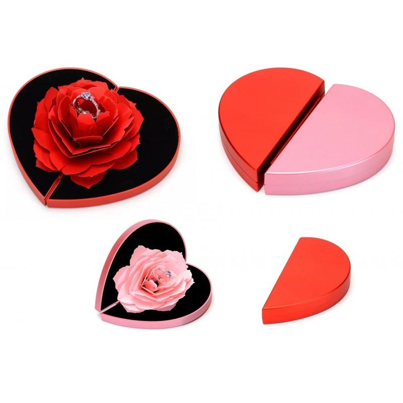 Eleganckie pudełko na pierścionek zaręczynowy serce kwiat róży, różne kolory