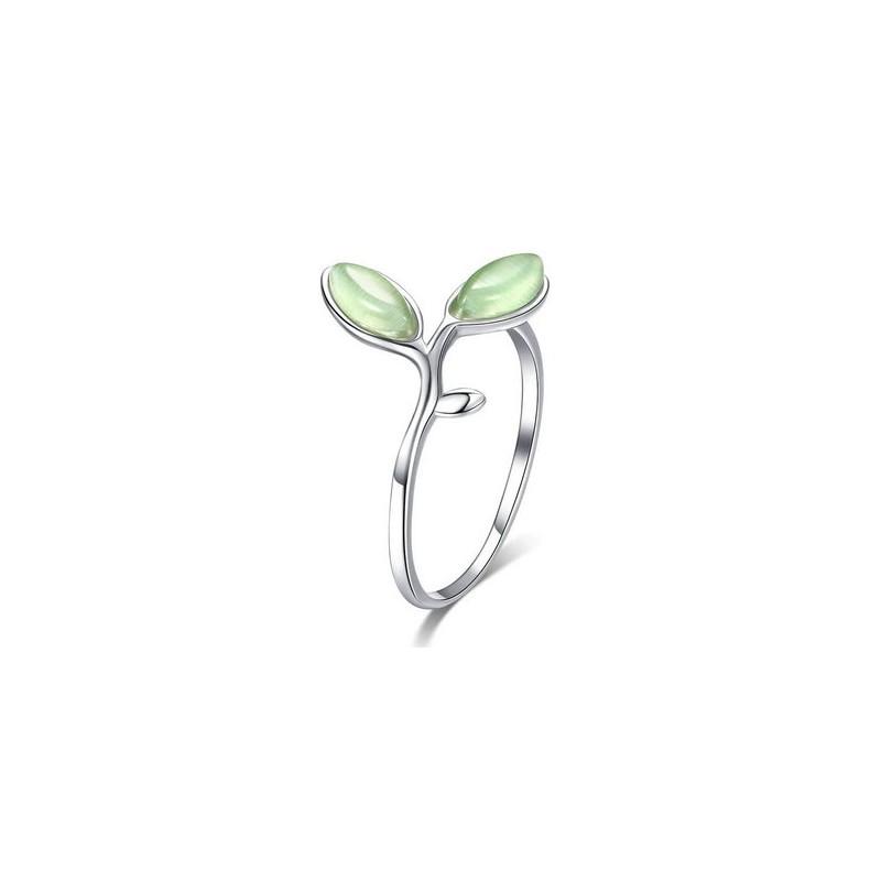 Srebrny pierścionek zielone światło nadziei, srebro 925, opal