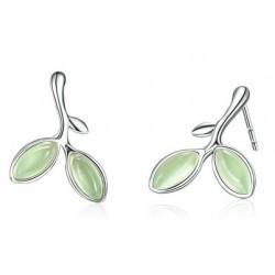 Srebrne kolczyki zielone światło nadziei, srebro 925, opal