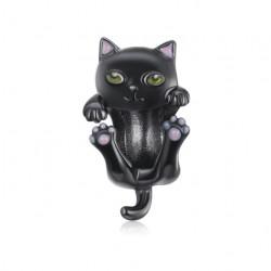 Srebrny charms - czarny emaliowany kot, srebro 925