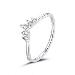 Srebrny pierścionek korona wishbone, srebro 925, cyrkonia sześcienna