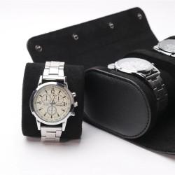Eleganckie skórzane pudełko vintage - futerał na zegarki lub bransoletki, saszetka podróżna