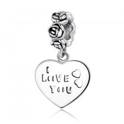 Charms ze srebra 925 serce kocham cię z różami, oksydowany