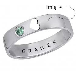 Srebrny pierścionek z wyciętym sercem + grawer, srebro 925, cyrkonia sześcienna