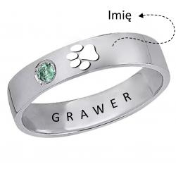 Srebrny pierścionek z wyciętym odciskiem łapki - obrączka + grawer, srebro 925, cyrkonia sześcienna