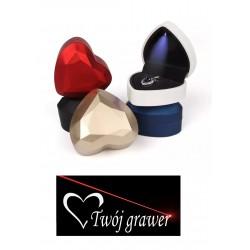 Eleganckie pudełko na pierścionek zaręczynowy serce podświetlane LED + GRAWER, różne kolory