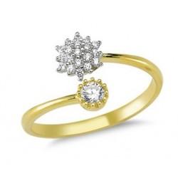 Złoty 14k pierścionek otwarty kwitnące kwiaty, złoto 585, cyrkonia sześcienna
