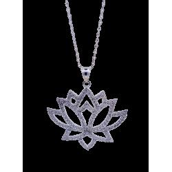 Naszyjnik kwiat lotosu z cyrkoniami, srebro 925, cyrkonia sześcienna
