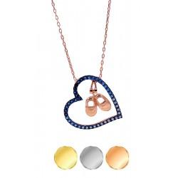Srebrny naszyjnik dla matki kolia serce z ruchomymi bucikami chłopca, srebro 925, cyrkonia sześcienna