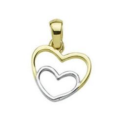 Zawieszka złączone serca two tone na walentynki, złoto 585, cyrkonia sześcienna