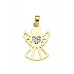 Zawieszka anioł z sercem z cyrkonii, komunia, chrzest, złoto 585, cyrkonia sześcienna