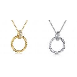 Srebrny naszyjnik krąg szczęścia, srebro 925, cyrkonia sześcienna
