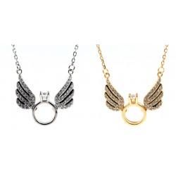 Srebrny naszyjnik kolia skrzydła anioła z pierścionkiem zaręczynowym, srebro 925, cyrkonia sześcienna