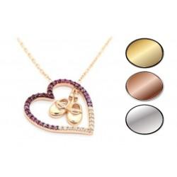 Srebrny naszyjnik dla matki kolia różowe serce z ruchomymi bucikami dziewczynki, srebro 925, cyrkonia sześcienna