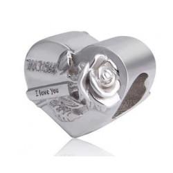 Charms serce z różą mamo, kocham cię, srebro 925