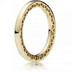 Pierścionek Pandora z 14-karatowego złota z wyciętymi sercami 156238 modułowy puzzle, obrączka złoto 585